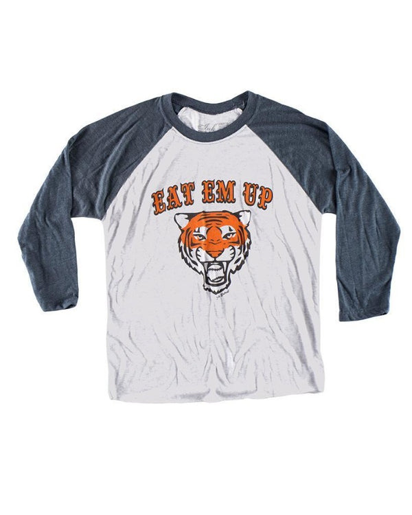 Ink Detroit Eat Em UP Tri Blend 3/4 Sleeve Raglan T-Shirt - Indigo
