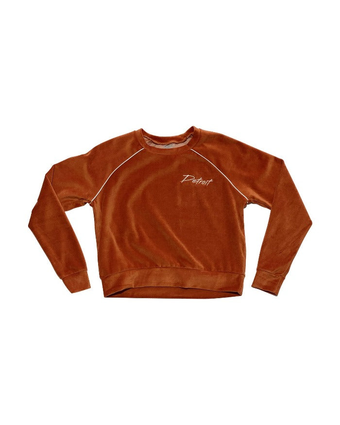 Ink Detroit Embroidered Velour Long Sleeve Women's Crop - Rust