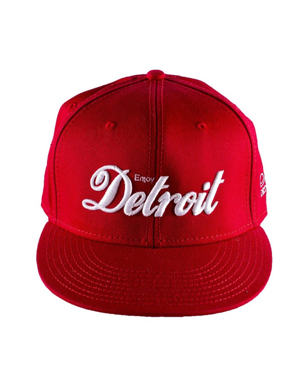 Ink Detroit Enjoy Detroit Flat Bill Puff Print Snap Back Hat - Red / White