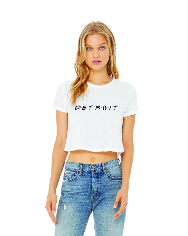 Ink Detroit Friends Cropped Flowy T-Shirt - White