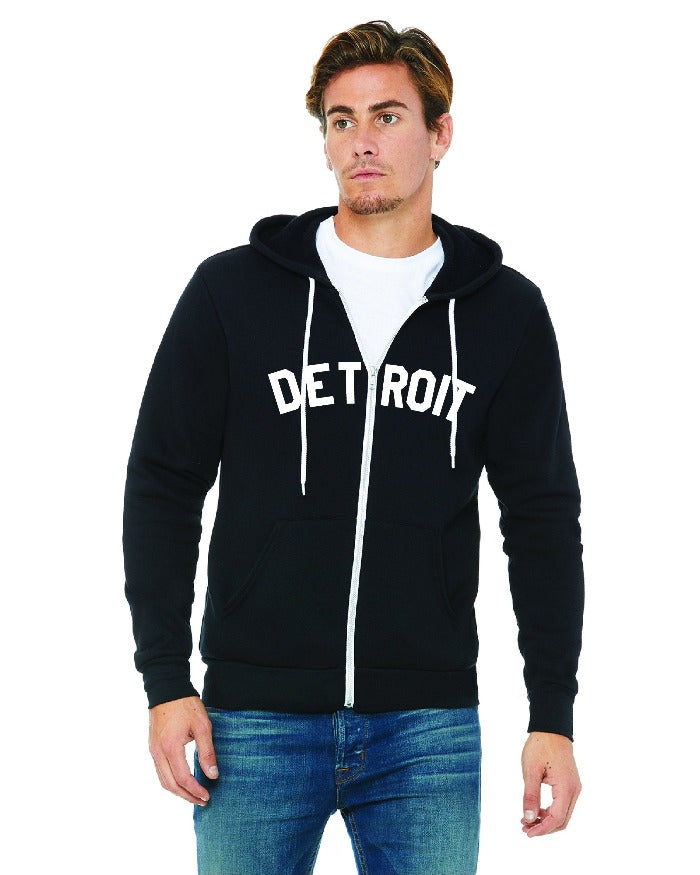 Ink Detroit Full Zip Hooded Sweatshirt - Black