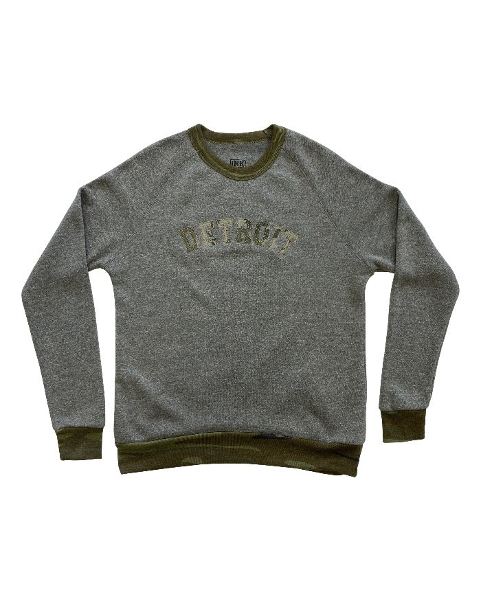 Ink Detroit Grey and Camouflage Trim Crewneck Sweatshirt