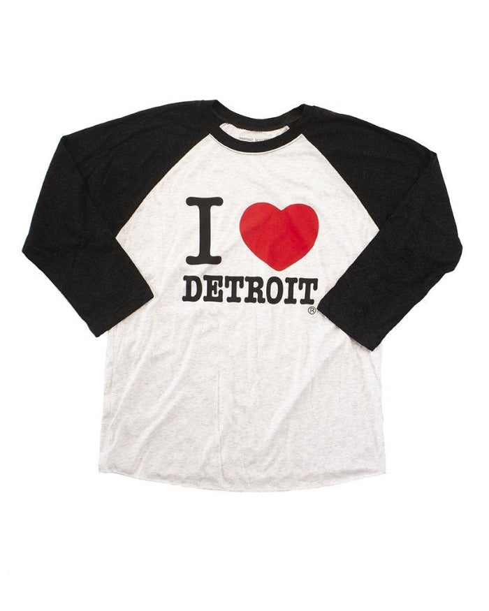 Ink Detroit I Love Detroit 3/4 Long Sleeve Baseball T-Shirt