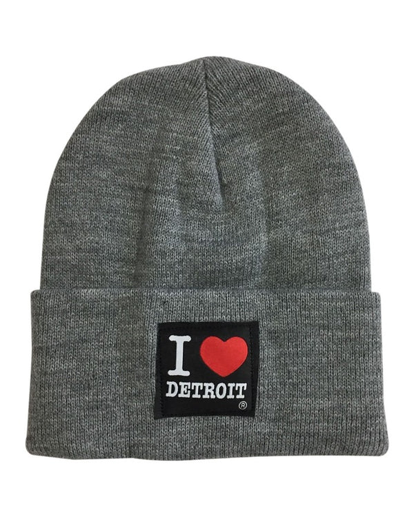 Ink Detroit I Love Detroit Knit Beanie with Cuff - Grey