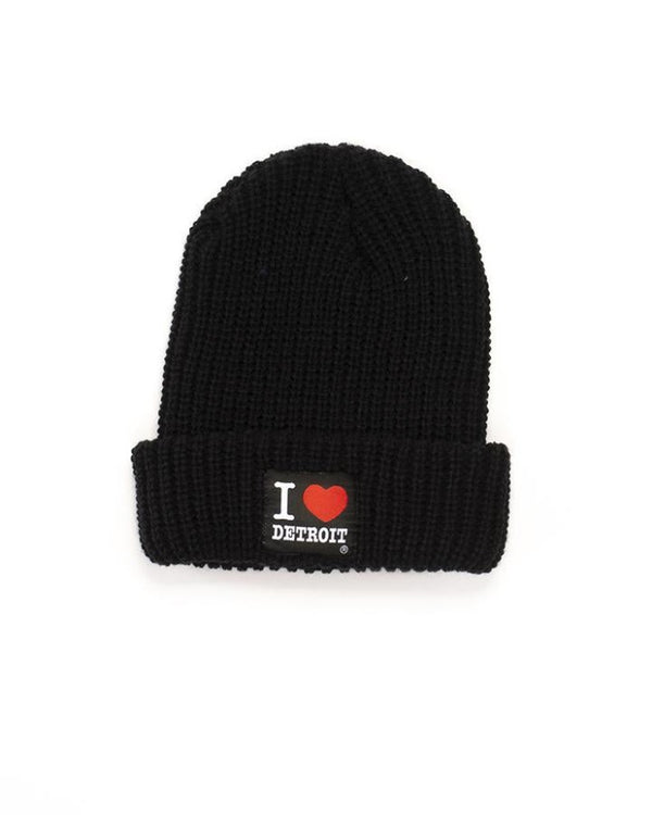 Ink Detroit I Love Detroit Lumberjack Knit Beanie with Cuff - Black
