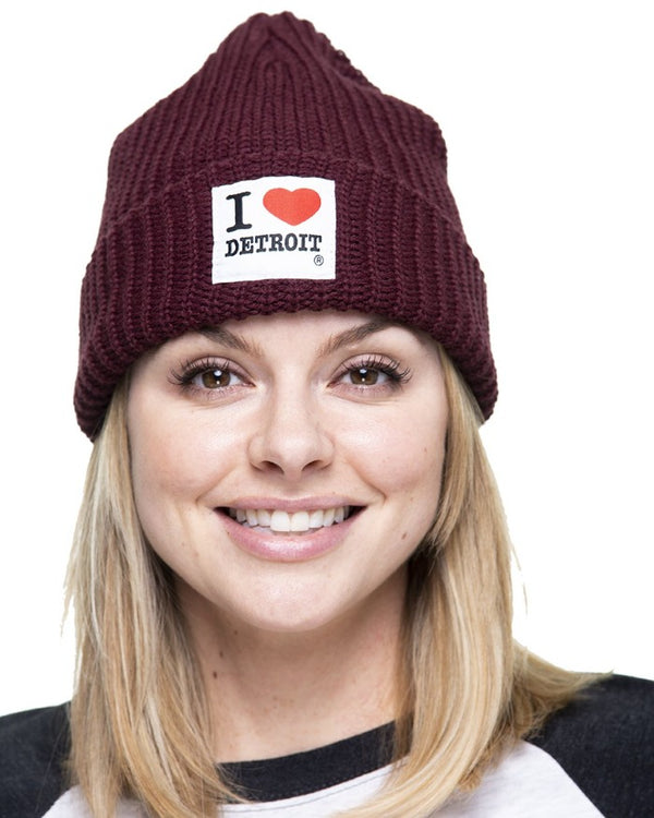 Ink Detroit I Love Detroit Lumberjack Knit Beanie with Cuff - Burgandy