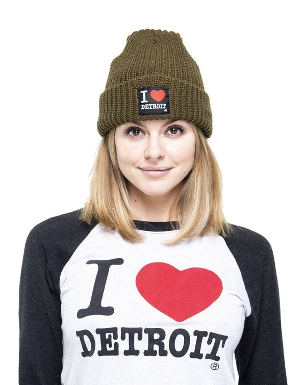 Ink Detroit I Love Detroit Lumberjack Knit Beanie with Cuff - Olive