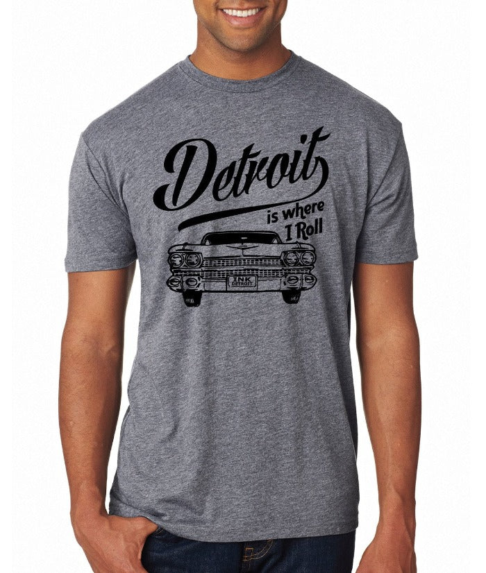 Ink Detroit Is Where I Roll Automobile T-Shirt - Grey