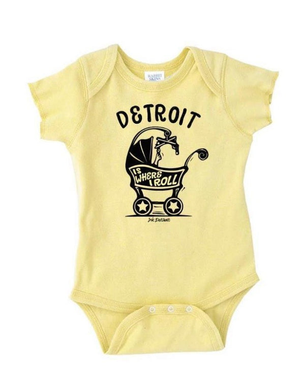Ink Detroit Is Where I Roll Baby Carriage Onesie - Banana Yellow