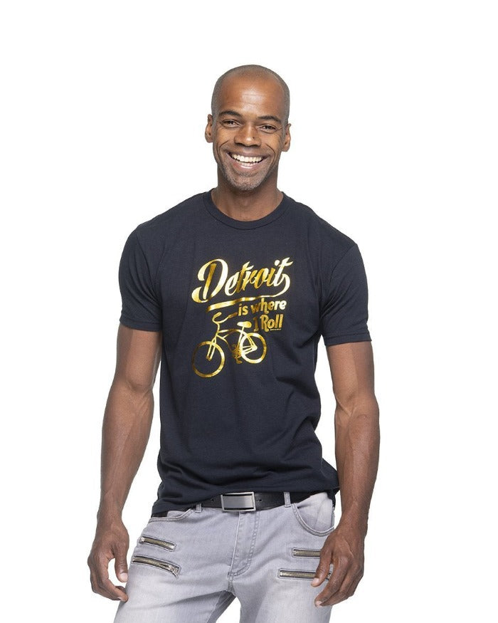 Ink Detroit Is Where I Roll T-Shirt - Gold Foil Print