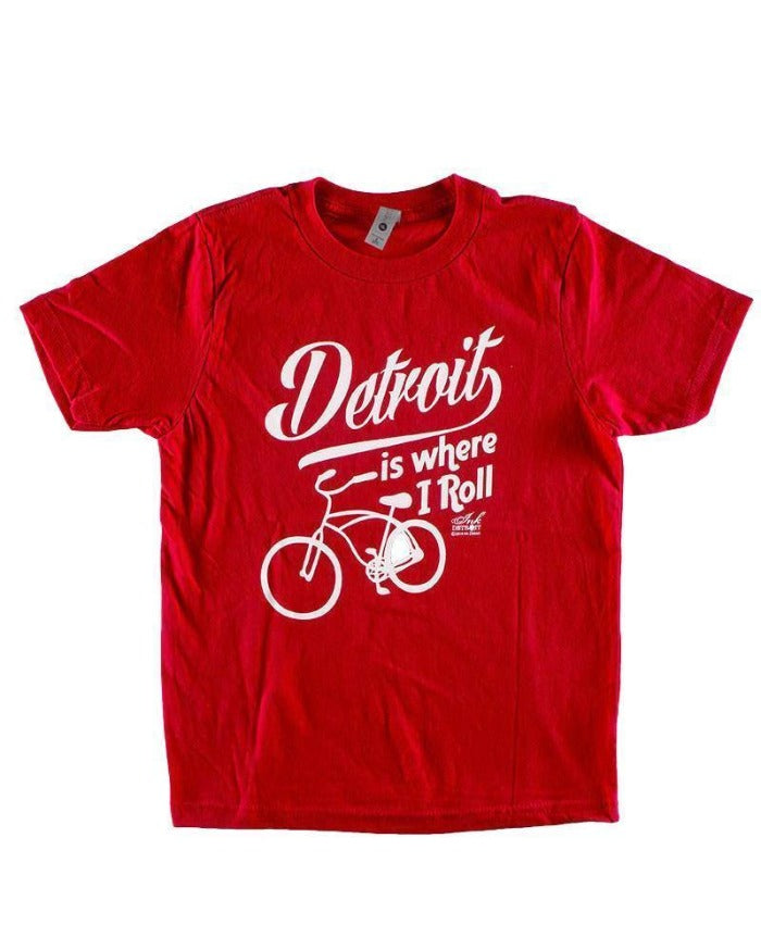Ink Detroit Is Where I Roll Youth T-Shirt - Red