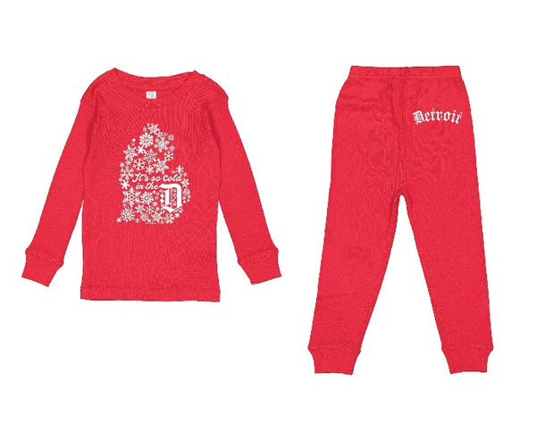 Ink Detroit It's so cold in the D - Toddler Pajama set - Red