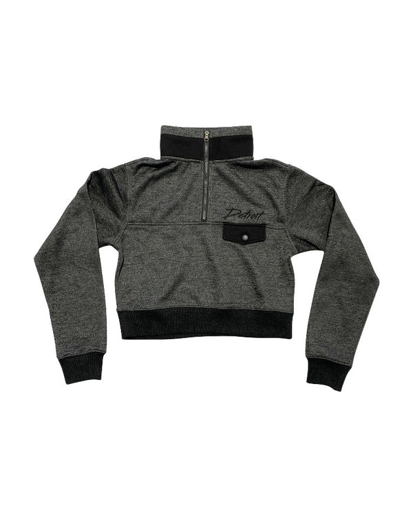 Ink Detroit Half Zip Cropped Pullover