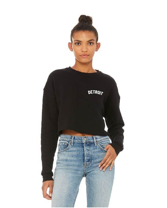 Ink Detroit Left Chest Print Women's Cropped Fleece Crewneck Sweatshirt - Black