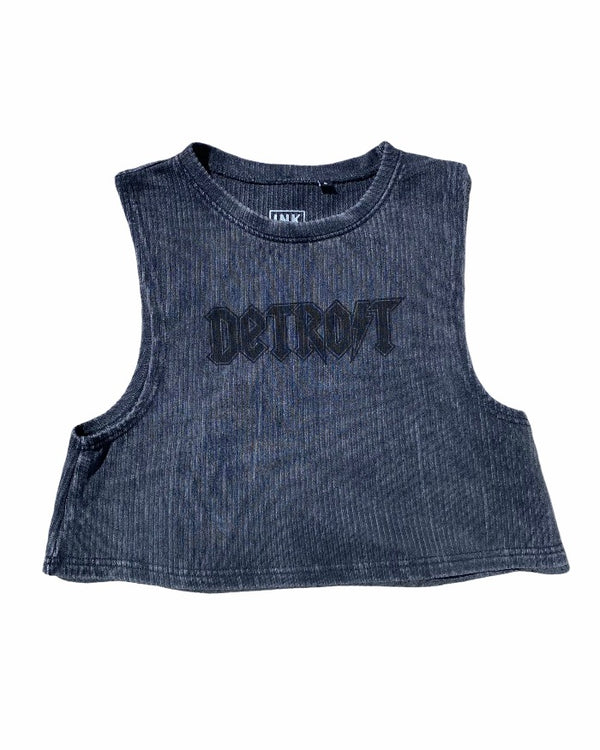 Ink Detroit Lightning Mineral Wash Boxy Cropped Muscle Tank