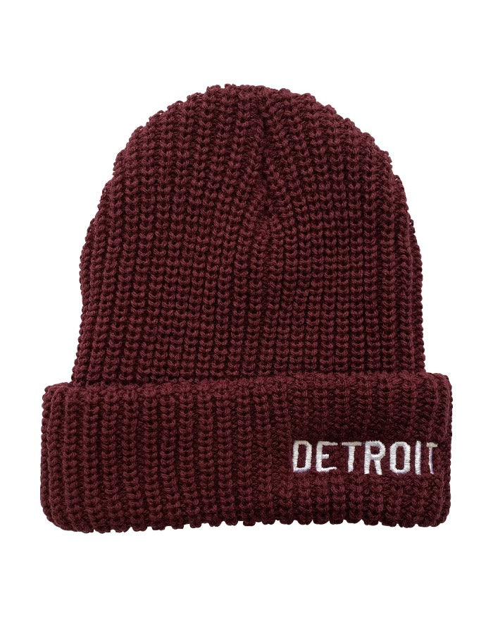 Ink Detroit Lumberjack Knit Beanie with Cuff - Maroon