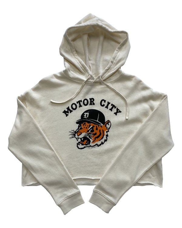 Ink Detroit Motor City Kitty Crop Hoodie - Bone