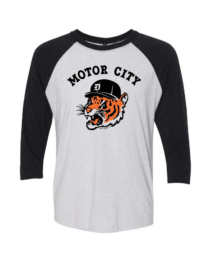 Ink Detroit Motor City Kitty Tri Blend 3/4 Sleeve Raglan T-Shirt