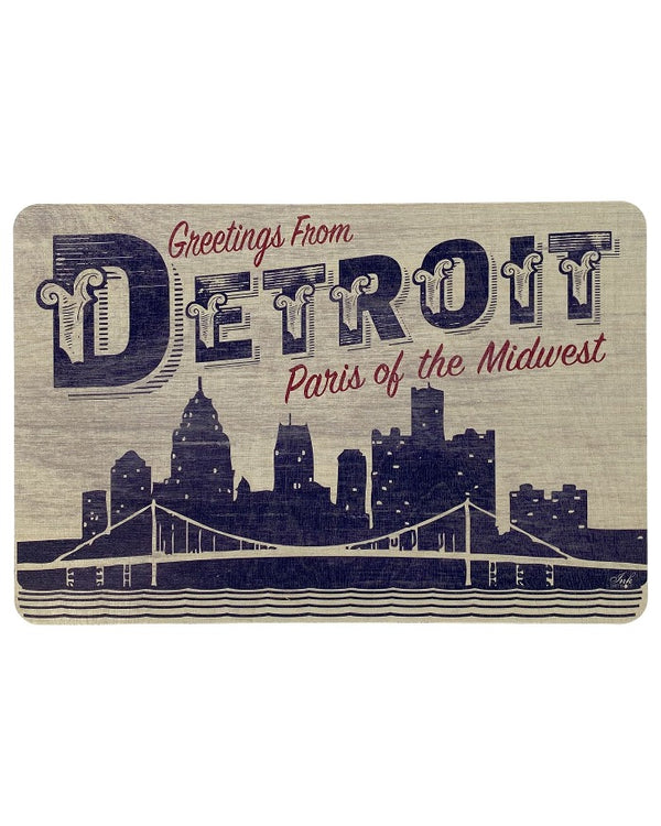 "Ink Detroit Paris of the Midwest 12""x8"" rustic wood sign"