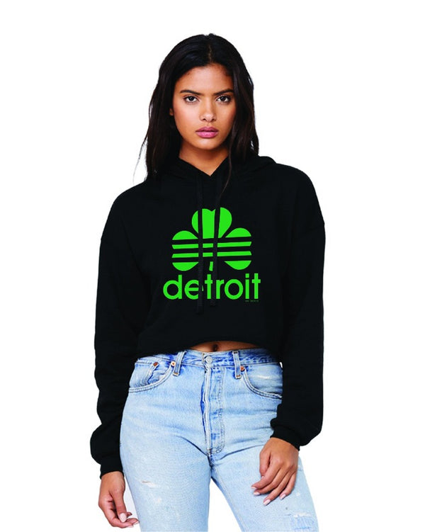 Ink Detroit Retro Cloverleaf Fleece Crop Hoodie - Black
