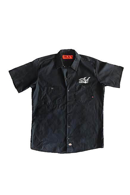 Ink Detroit Skull Dickies Work Shirt - Black with White