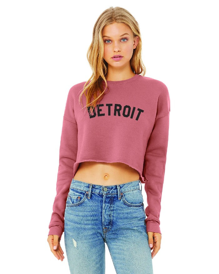 Ink Detroit Women's Cropped Fleece Crewneck Sweatshirt - Mauve