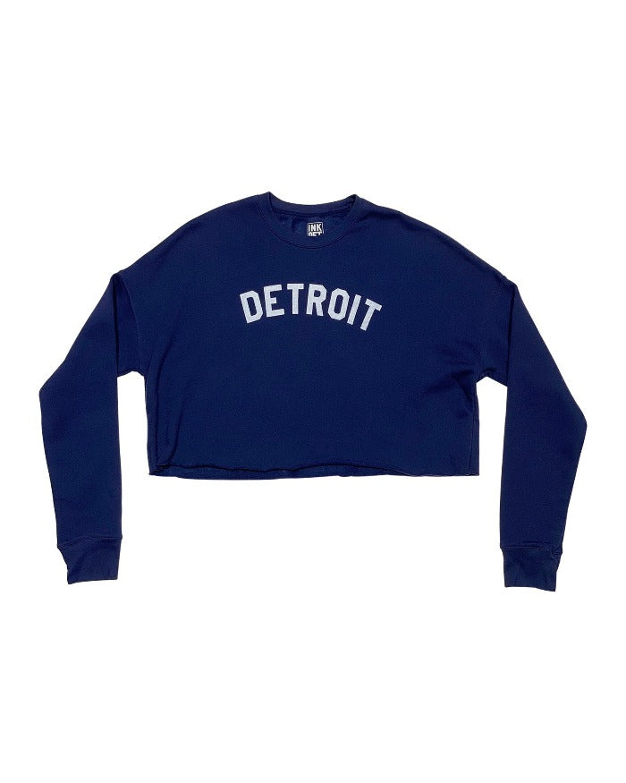 Ink Detroit Women's Cropped Fleece Crewneck Sweatshirt - Navy