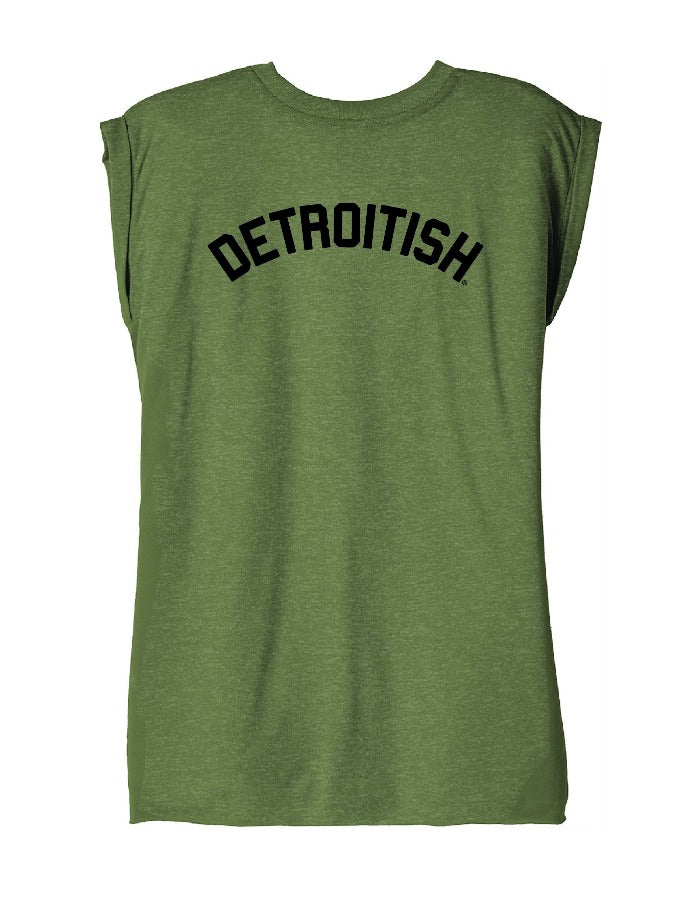 Ink Detroit Detroitish Women's Flowy Muscle T-Shirt Rolled Cuff - Olive