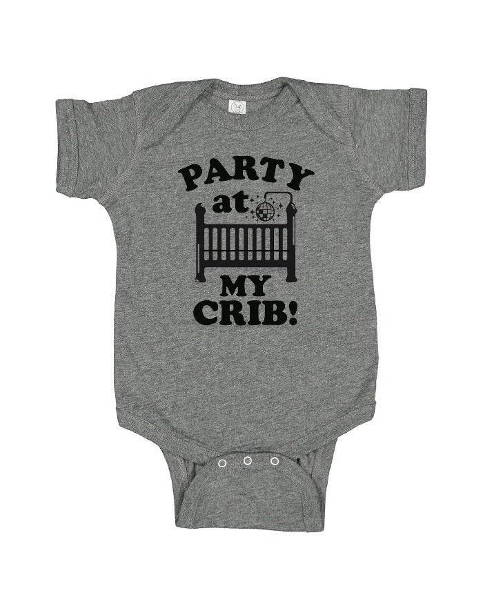 Ink Detroit PARTY AT MY CRIB Baby Onesie - Heather Grey