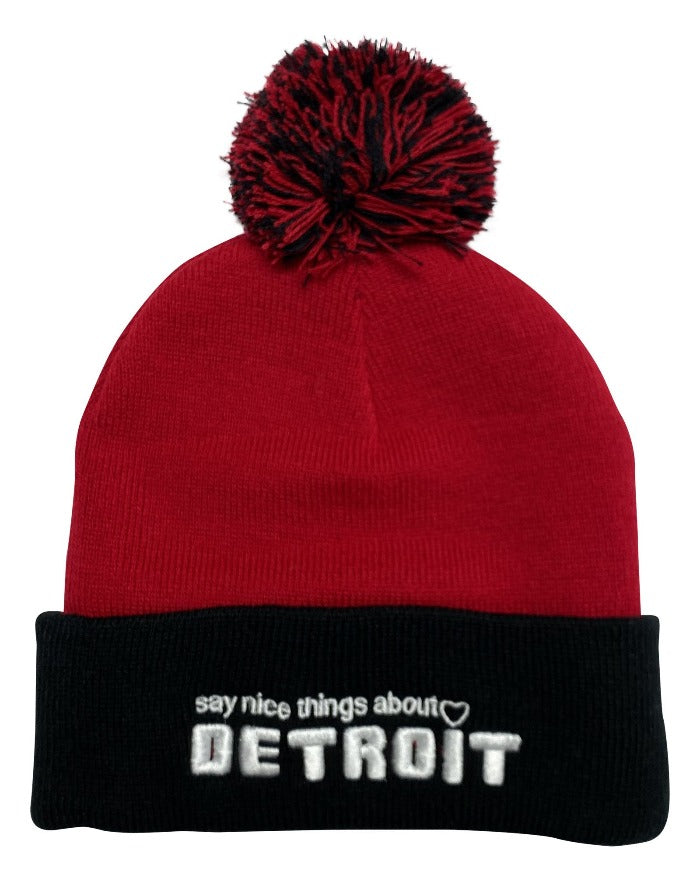Say Nice Things About Detroit Pom Pom Beanie - Red