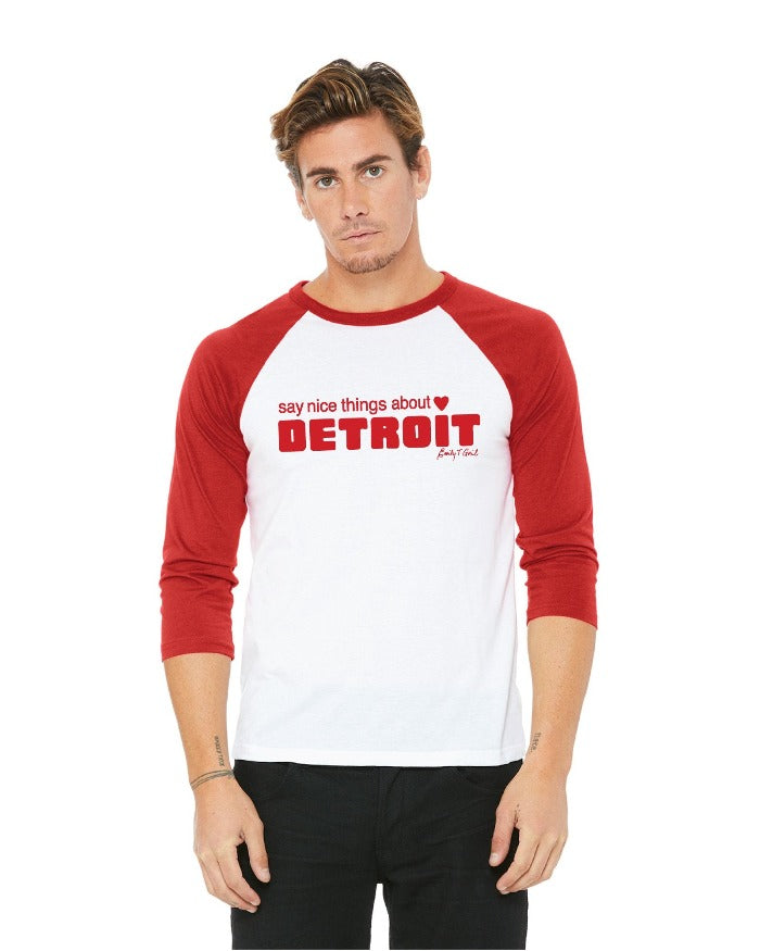 Say Nice Things About Detroit Tri-Blend 3/4 Sleeve Raglan T-Shirt - Red