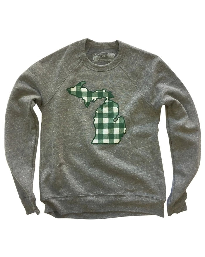 The Great Lakes State Buffalo Plaid Flannel Crewneck Sweatshirt - Green and White