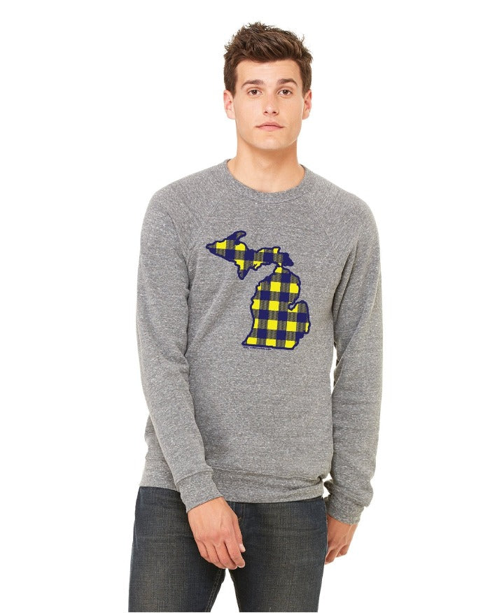 The Great Lakes State Buffalo Plaid Flannel Crewneck Sweatshirt - Maize and Blue