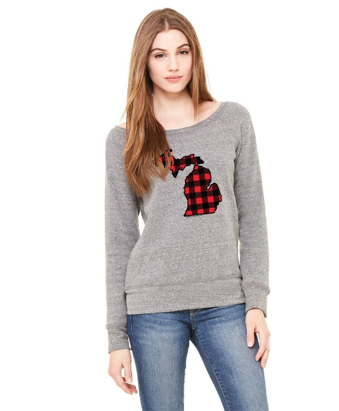 The Great Lakes State Buffalo Plaid Flannel Women's Junior Fit Sweatshirt - Heather Grey