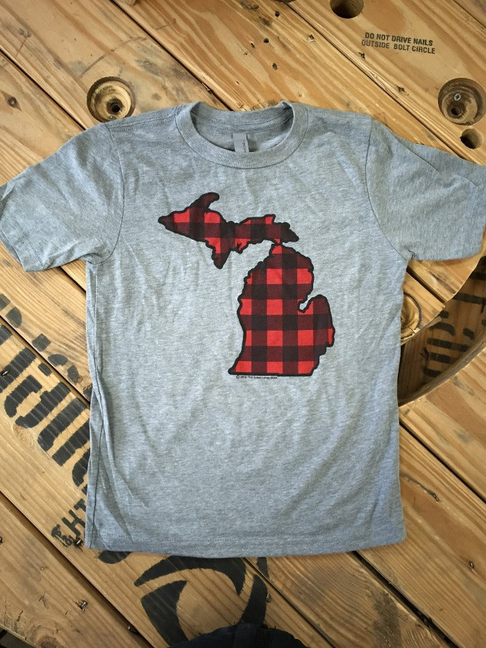 The Great Lakes State Buffalo Plaid Flannel Youth T-Shirt - Heather Grey