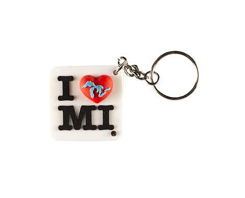 The Great Lakes State I Love Michigan Keychain