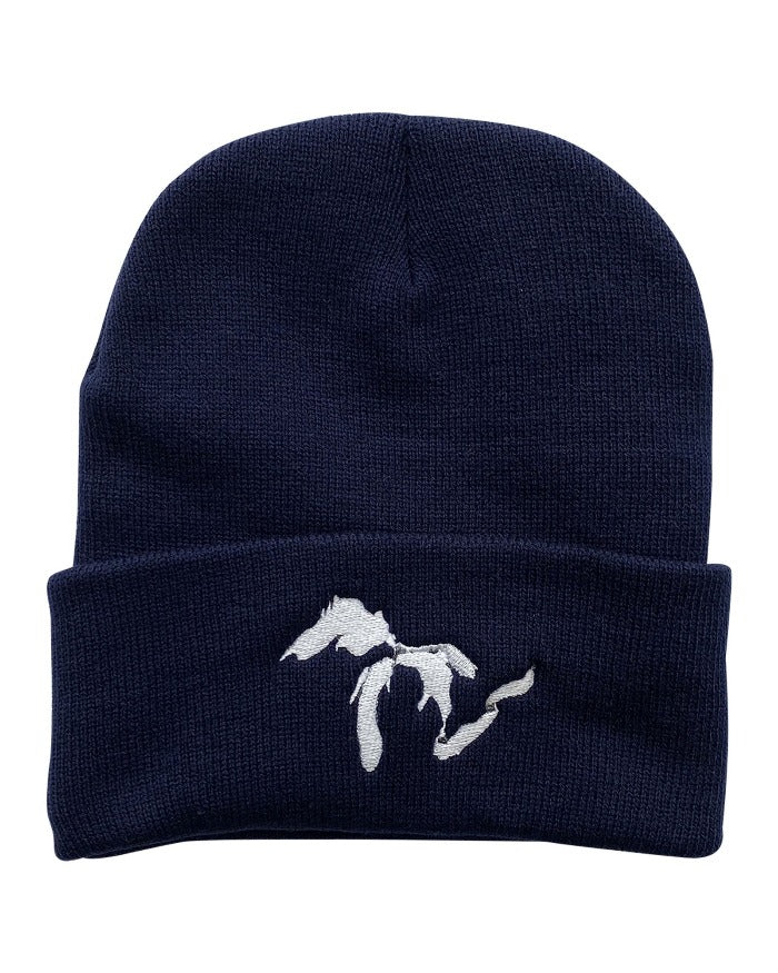 The Great Lakes State Knit Beanie - Navy