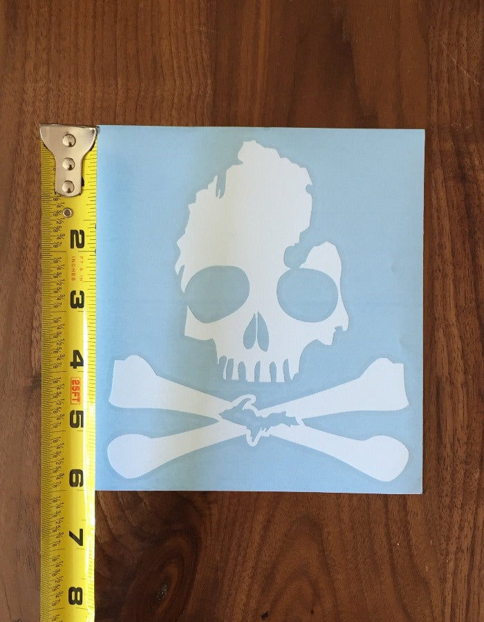 The Great Lakes State Michigan Skull & Bones Extra Large Vinyl Decal Sticker