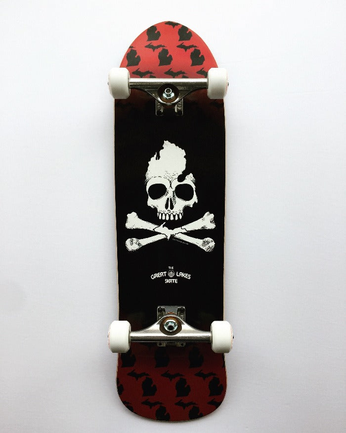 The Great Lakes State Michigan Skull & Bones Old School Complete Skateboard