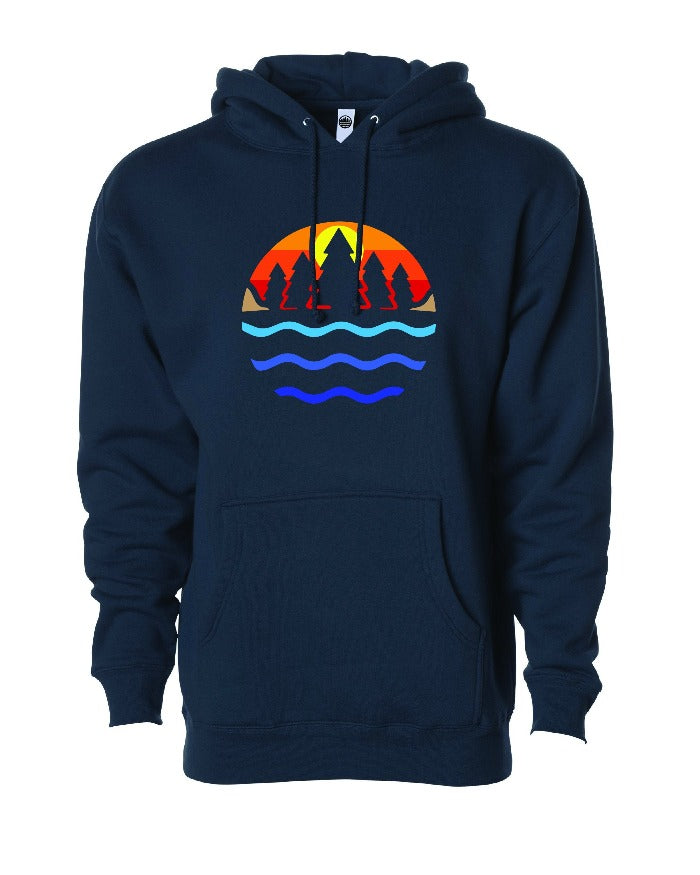 The Great Lakes State Multi Color Logo Hoodie - Navy