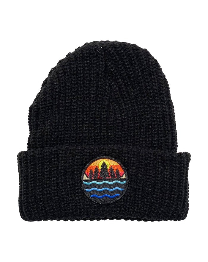 The Great Lakes State Multi Color Logo Knit Beanie with Cuff - Black