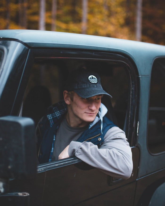 The Great Lakes State Snow Washed Denim Emblem Dad Hat - Black
