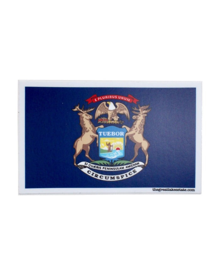 The Great Lakes State - State of Michigan Flag Die Cut Vinyl Sticker