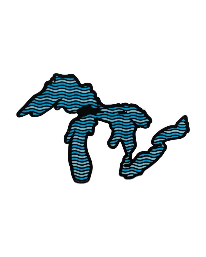 The Great Lakes State Waves Die Cut Vinyl Sticker
