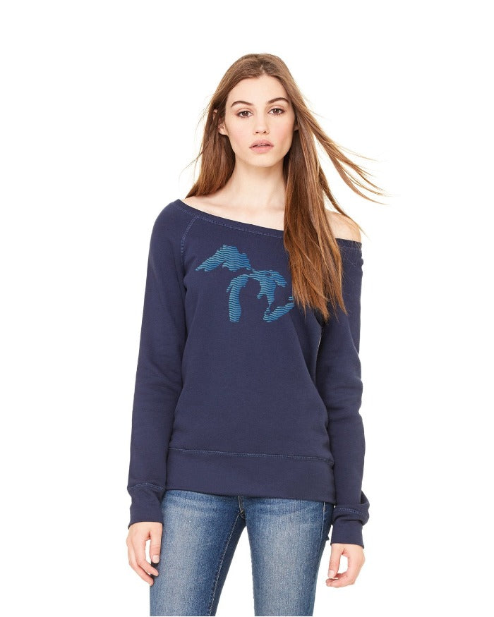 The Great Lakes State Waves Ladies Wide Neck Sponge Fleece Sweatshirt