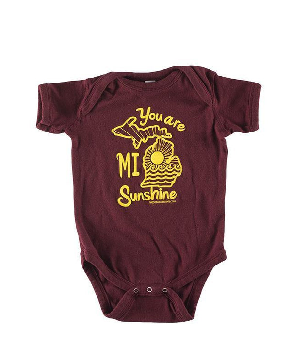 The Great Lakes State You Are MI Sunshine Baby Onesie - Maroon