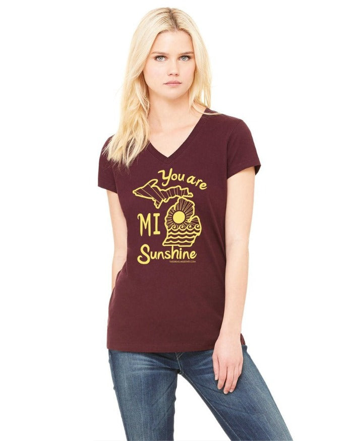 The Great Lakes State You Are Mi Sunshine Women's Junior Fit V-Neck T-Shirt - Maroon