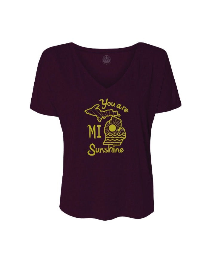 The Great Lakes State You Are Mi Sunshine Women's Slouchy Fit  V-Neck T-Shirt - Maroon