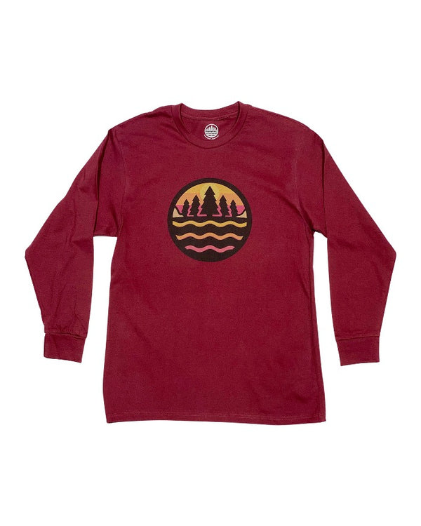 The Great Lakes State Fall Logo Long Sleeve T-Shirt - Burgundy