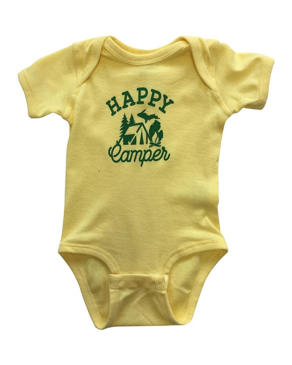 The Great Lakes State Happy Camper Onesie - Banana Yellow